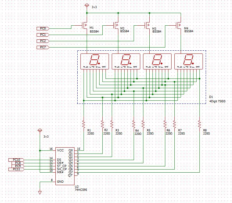 4桁7セグLED 駆動回路図
