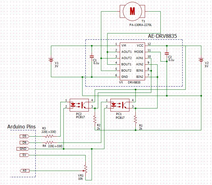 DCM DRV8835 PC817 Schematic