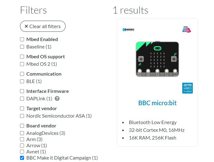 Select Board BBC micro:bit