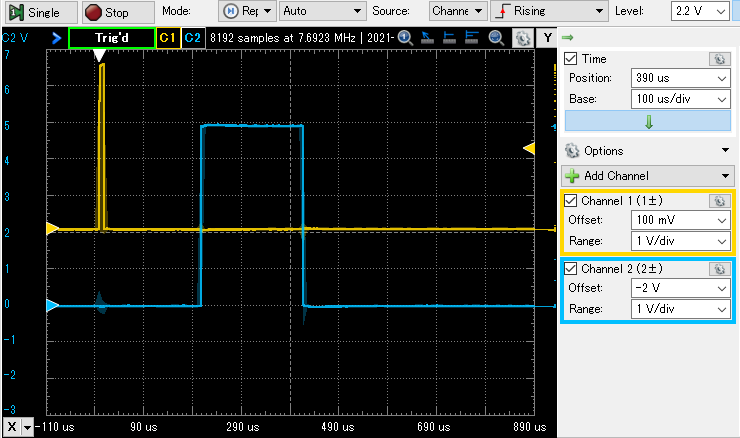 RPiPico HC-SR04 waveform
